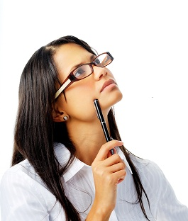 Photo of a woman considering printed pens
